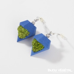 Boucles d'oreille diamant poirier chocolat avec végétal