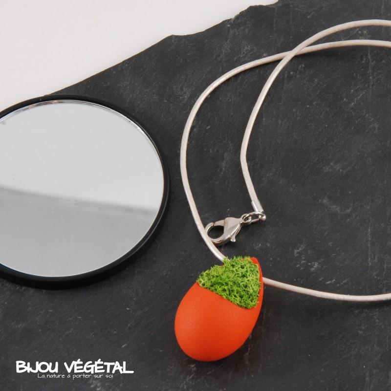 collier goutte mandarine avec du lichen bijou v g tal. Black Bedroom Furniture Sets. Home Design Ideas