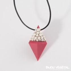Collier composite diamant chocolat avec végétal