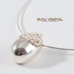 Collier Goutte en argent massif petites fleurs blanches