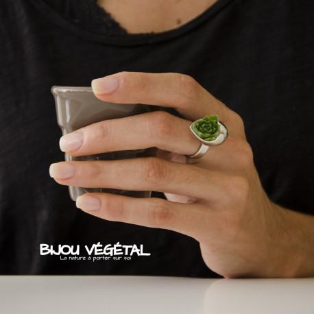 Bague goutte acier grey avec végétal