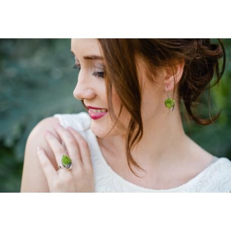 Boucles d'oreilles Mariage Tulipe argent avec du lichen