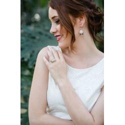 Bague Mariage argent Vertige avec petites fleurs blanches
