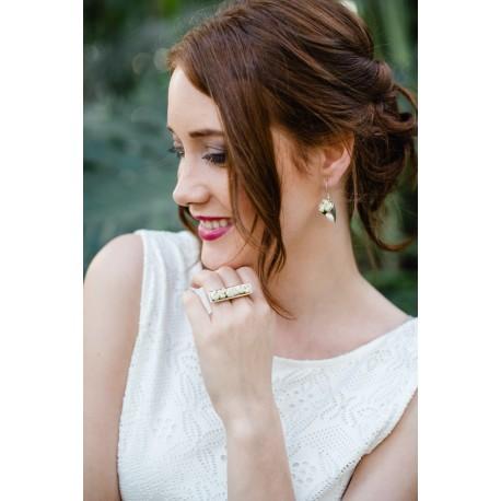 Bague Mariage argent Jardinière avec mini-roses blanches