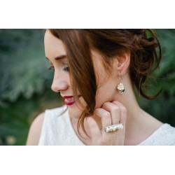 Boucles d'oreilles Mariage Goutte argent avec des mini-roses blanches