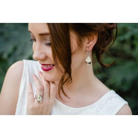 Bague Mariage argent Goutte avec mini-roses blanches