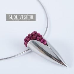 Collier Prestige Tulipe en argent massif avec petites fleurs blanches