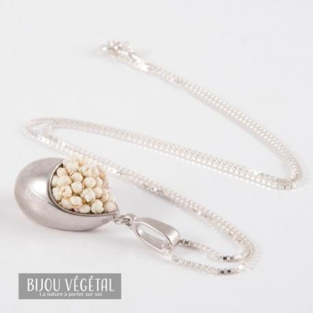 Collier Prestige Goutte en argent 925 avec des mini-roses blanches