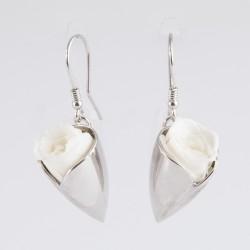 Boucles d'oreilles Prestige tulipe argent avec des petites fleurs prunes