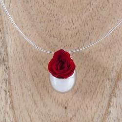 Collier Prestige Grande Goutte en argent massif avec une rose blanche éternelle