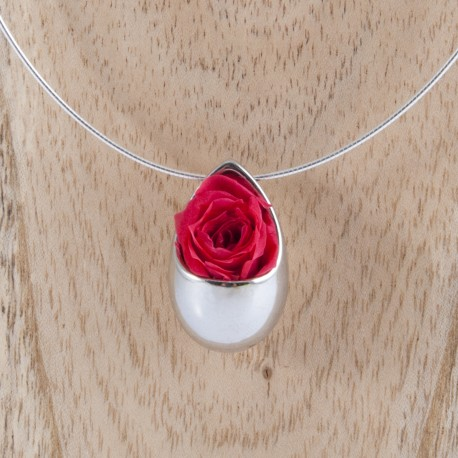 Collier Prestige Grande Goutte en argent massif avec une rose rouge éternelle