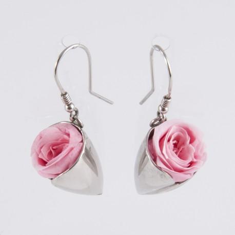 Boucles d'oreilles Prestige tulipe argent avec des roses blanches