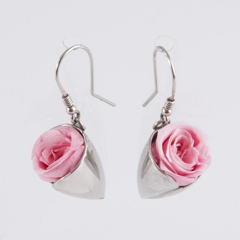 dernière vente sélectionner pour authentique meilleure valeur Boucles d'oreilles Prestige tulipe argent avec des roses coloris rose pâle