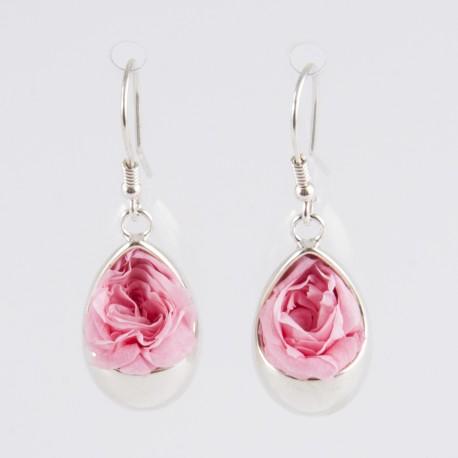 Boucles d'oreilles Prestige tulipe argent avec des roses coloris rose pâle