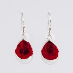 Boucles d'oreilles Prestige goutte argent avec des roses coloris rose pâle