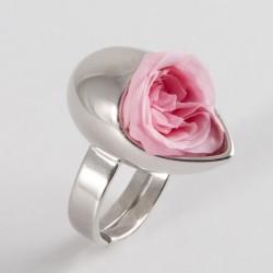 Bague Prestige argent Goutte avec mini-roses blanches
