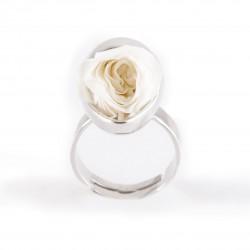 Bague Prestige argent Goutte avec une jolie rose coloris rose clair