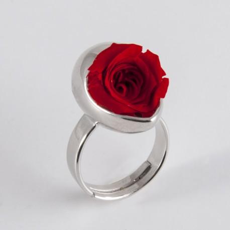 Bague Prestige argent Goutte avec une jolie rose coloris rose claire