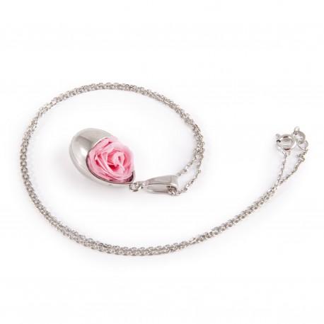 Collier Goutte Prestige en argent 925 rhodié avec une jolie rose blanche