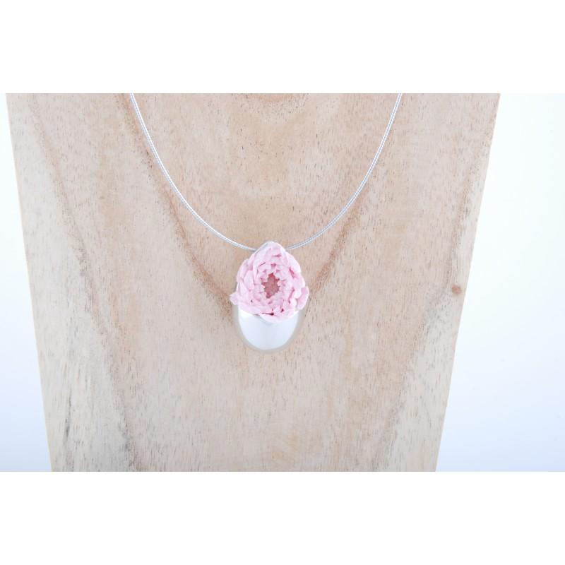 de style élégant profiter du prix de liquidation prix raisonnable Collier Prestige Grande Goutte en argent massif avec un bouton de fleur  pompon rose