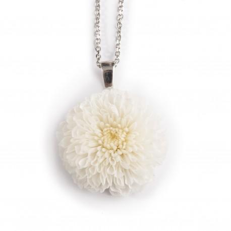 Collier Pompon Prestige en argent 925 rhodié avec un joli bouton de fleur rose poudré