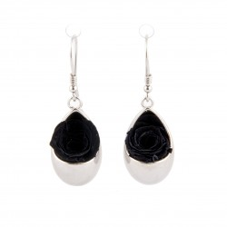 Boucles d'oreilles Prestige goutte argent avec des roses noires