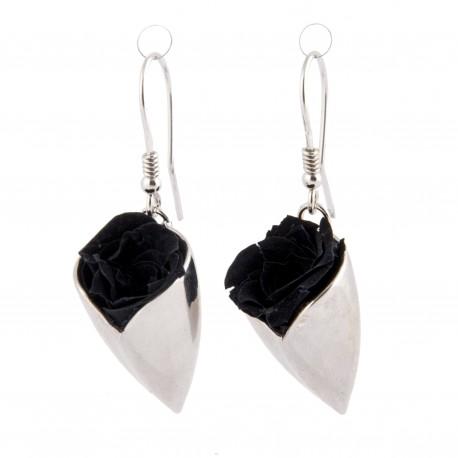 Boucles d'oreilles Prestige tulipe argent avec de véritables roses noires éternelles