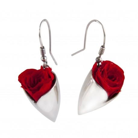 Boucles d'oreilles Prestige tulipe argent avec de véritables roses rouges éternelles