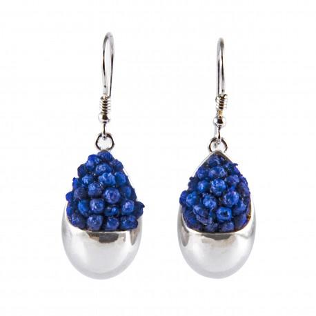 Boucles d'oreilles Prestige Goutte argent avec des petites fleurs bleues nuit