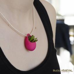 Collier Goutte Fuchsia avec plante