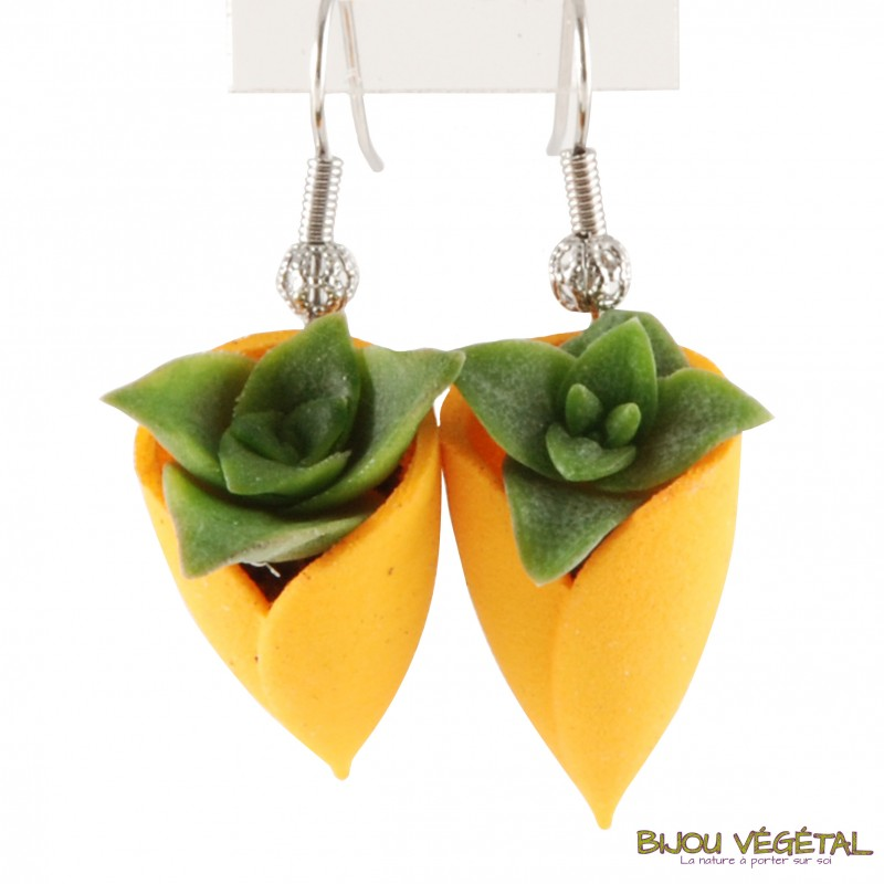 boucles d 39 oreille tulipe orang e avec plante vivante. Black Bedroom Furniture Sets. Home Design Ideas