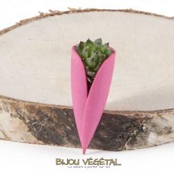 Broche Tulipe fushia avec plante