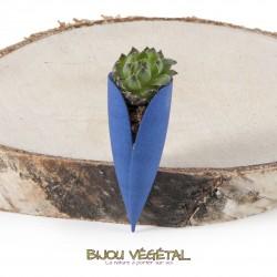 Broche Tulipe bleu avec plante