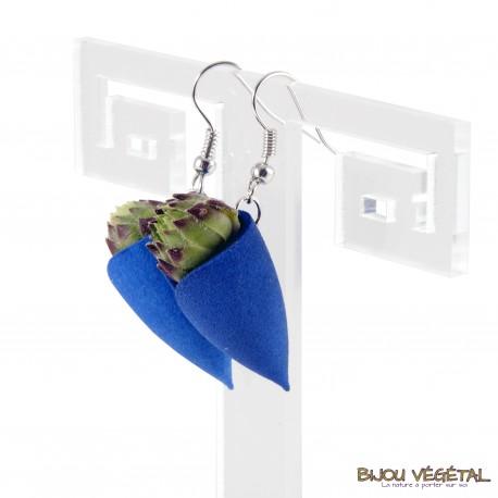 Boucles d'oreille Tulipe bleu avec végétal