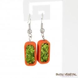 Boucles d'oreille vertige mandarine avec végétal