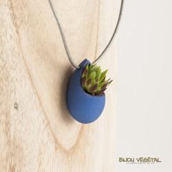 Collier goutte bleu avec plante