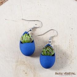 Boucles d'oreilles Goutte Bleu plante