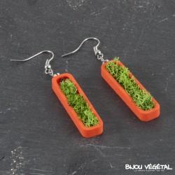 Boucles d'oreille mandarine avec végétal