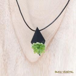 Collier diamant poirier bleu avec végétal