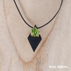 Collier diamant chocolat avec végétal