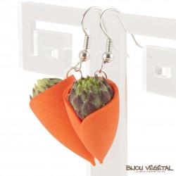Boucles d'oreille Tulipe Mandarine avec végétal