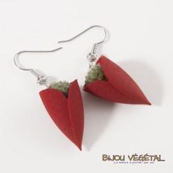 Boucles d'oreille Tulipe rouge avec végétal