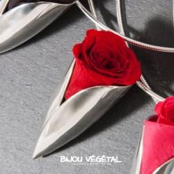 Collier Tulipe en argent massif avec rose rouge