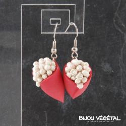 Boucles d'oreille Tulipe rouge avec fleurs blanches