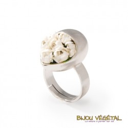 Bague argent Goutte avec fleurs blanches