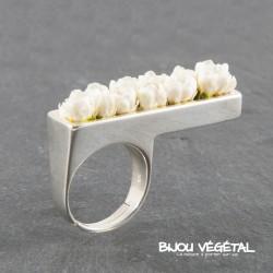 Bague argent Jardinière avec fleurs blanches